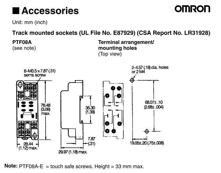 Omron 8 Pin Relay Socket Ptf08a E